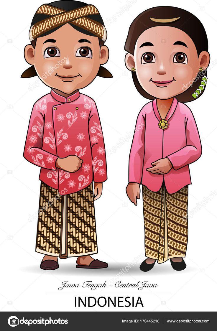 Gambar Animasi Pakaian Adat Jawa Tengah