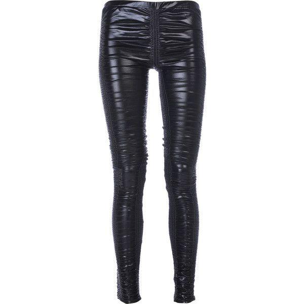 Sass & bide Black Rats PVC leggings ($165) ❤ liked on Polyvore featuring pants, leggings, bottoms, jeans, calças, pvc pants, elastic waistband pants, stretch waist pants, pull on pants and pvc trousers