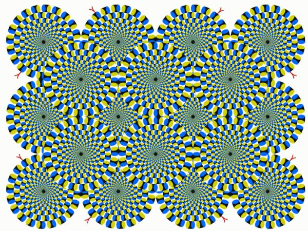 stress test 1 Japanese psychiatrist Akiyoshi Kitaoka created a set of images designed to help viewers of the images determine their state of mind.  Essentially, if you look at these images and they appear to be still, you are relaxed. If they are moving slowly, you're a tad stressed. If they're really moving around, you're super stressed and should probably take it easy.