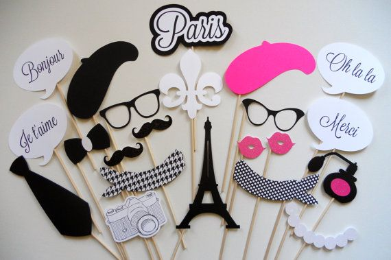 SALE TODAY ONLY Paris Photo Booth Props . Parisian Photo Booth Props . Photo Booth Props . Paris . Parisian . Glitter . Set of 22