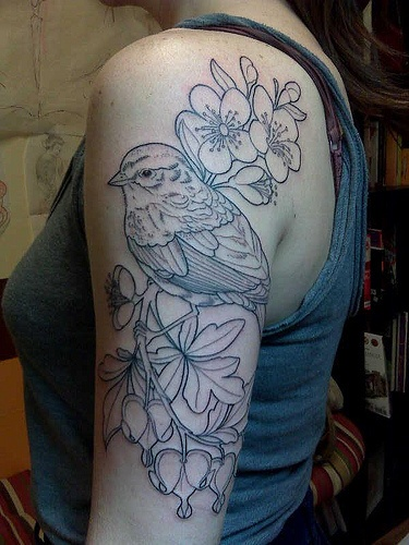 bird and flowers: Cherries Blossoms, Flowers Tattoo, Birds Tattoo, Bleedingheart, Tattoo'S, Tattoo Patterns, Tattoo Design, Arm Tattoo, Bleeding Heart