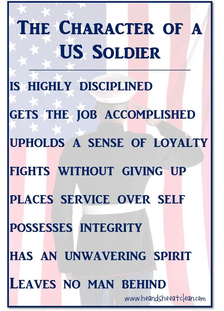 The Character of a US Soldier. Strive to be like them in all you do.  #motivation  #military #soldier