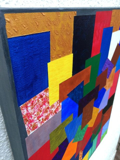 Interlocking Shapes number 2. Acrylic Abstract Painting by Dermot Daly