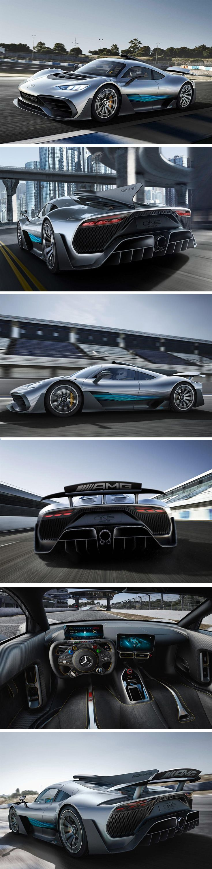 Meet Mercedes' Project ONE… and before you ask, YES, it's coming to life. Unveiled just today at the International Motor Show in Frankfurt, it not only takes inspiration from the Benz F1 team, its guts are actually the same 1.6-liter V6 hybrid that's led the brand to the 2017 F1 championship. It sports more than 1000 ponies and a top speed of more than 217 mph. That's just… insane.