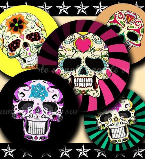 Colorful Sugar Skulls 150 4x6 Bottle Cap Images by bottlecapmania, $2.20