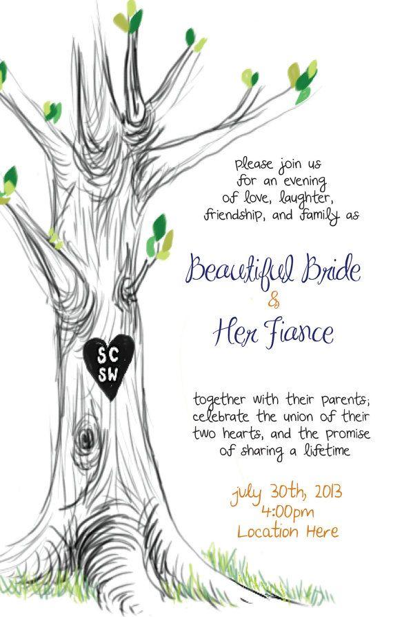 wedding invitation tree illustration custom initials by chidpop, $30.00