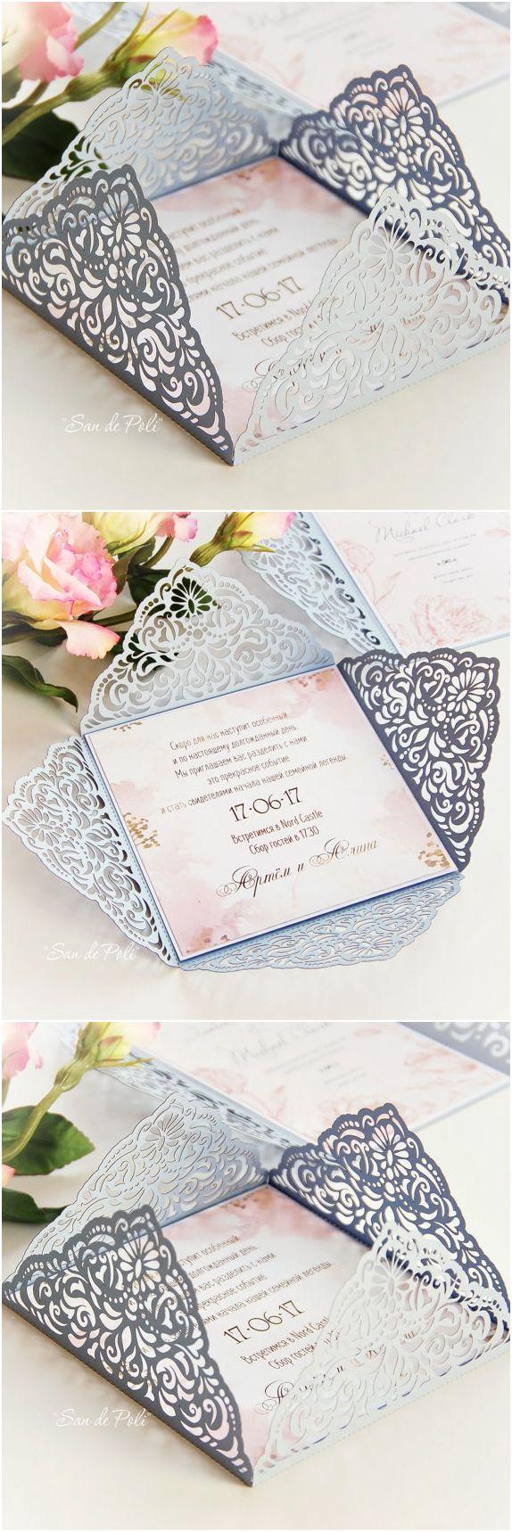 Wedding Invitation Card Template Four Fold Filigree Envelope Etsy Trouwen