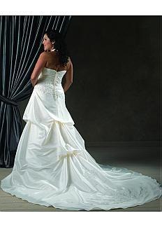 Fabulous Taffeta & Satin Halter Neckline Natural Waistline A-line Plus Size Wedding Dress