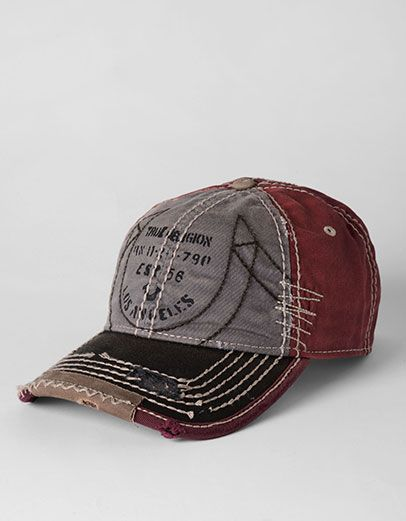 True Religion Brand Jeans, MENS LOGO STENCIL BASEBALL CAP, grey red, Mens : Accessories : Hats, MLPTR17201547