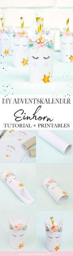 Bastel dir einen supersüßen Einhorn Adventskalender. Ganz einfaches DIY mit Toilettenpapierrollen! Die Anleitung und die Printables findest du bei Minidrops >>> #adventskalender #einhorn #minidrops