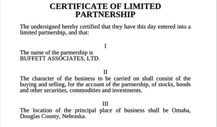 Warren Buffett's First Investment Partnership Agreement 1956