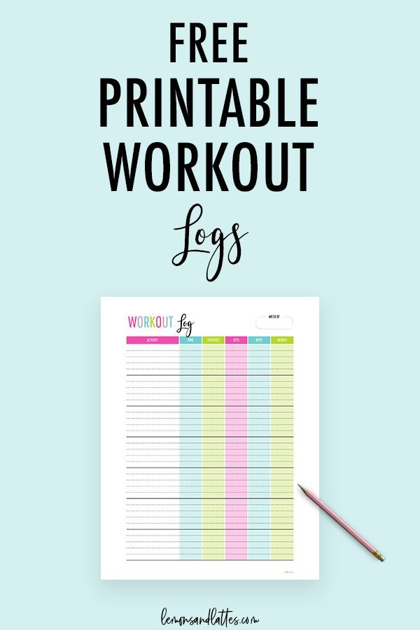 Free Printable Workout Log