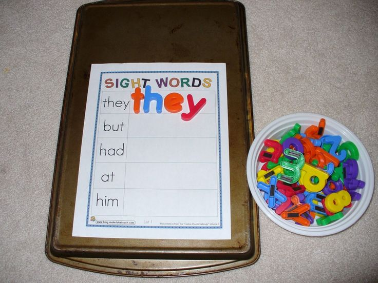 Cookie Sheet sight words.  Use words from current interest instead of random sight words to make it relevant for my boy.