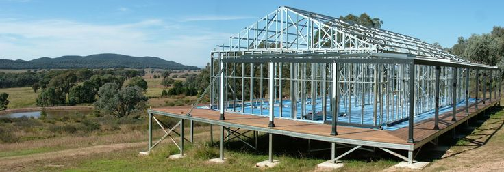 Boxspan Steel Ground Floor Frame- Decking Boards and Verandah Posts installed