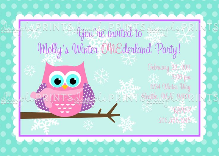Owl Winter Snowflake Printable Invitation - Dimple Prints Shop