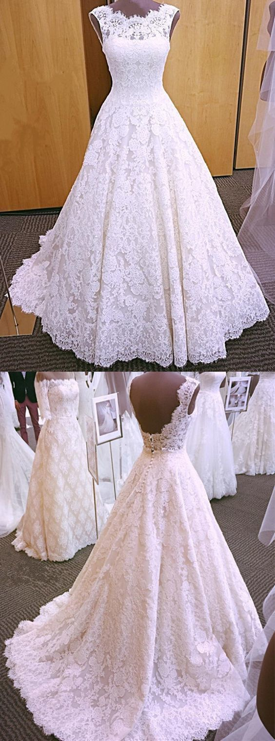 Vintage Cap Sleeves Open Back Lace Wedding Dresses 2018 by MeetBeauty, $221.08 USD
