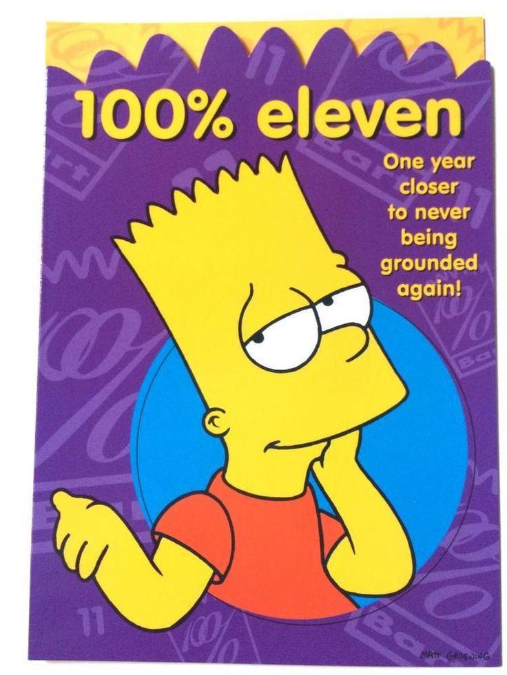 Bart Simpson 100 % Eleventh 11 Birthday card & envelope message inside celebrate
