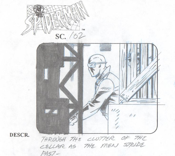 Spider Man Animated Series Marvel 1997 production animation storyboard 2* by CharlesScottGallery on Etsy