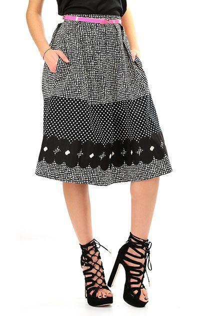 Kocca - Gonne - Abbigliamento - Gonna in cotone a ruota a vita alta con tasche laterali. Stampa a pois e fiori e cinturina colore fluo inclusa. - F6018 - € 98.00