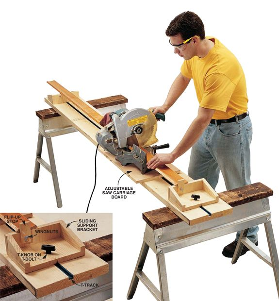 Great way to use a miter saw without spending a ton on an expensive stand, or having to dedicate lots of floor space to it.