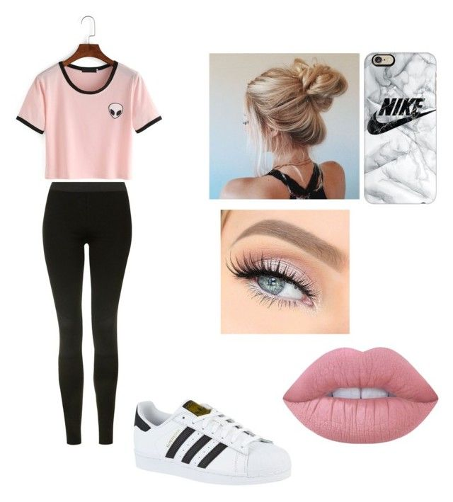 """""""Hanging out with friends ootd"""" by jaraujo3 on Polyvore featuring Topshop, adidas, Casetify and Lime Crime"""