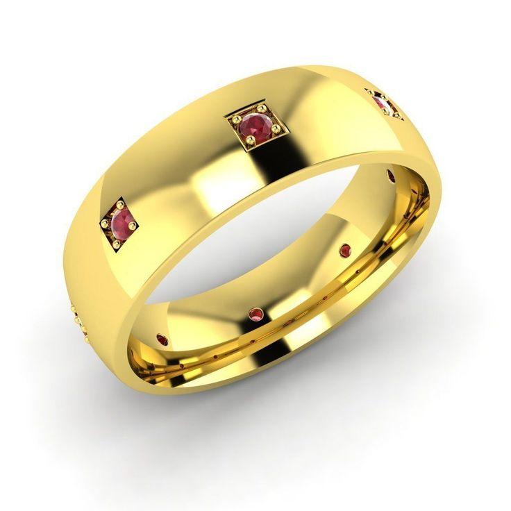 10k Yellow Gold 0.12 Ct AAA Ruby Anniversary Wedding Band Ring Size 7 - Diamonds & Gemstones