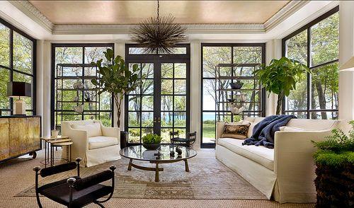 windows, windows, windowsSunrooms, Living Room Windows, Livingroom, Ceilings Design, Interiors Design, Black Windows, Kara Mann, Outdoor Spaces, Sun Room