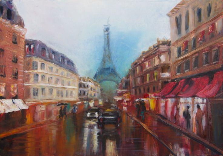 Дождливый Париж. По мастер классу художника Сахарова