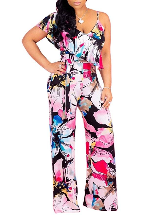 Women/'s Boho Printed Jumpsuit Rompers Sleeveless Pocket Wide Leg Pants Playsuit