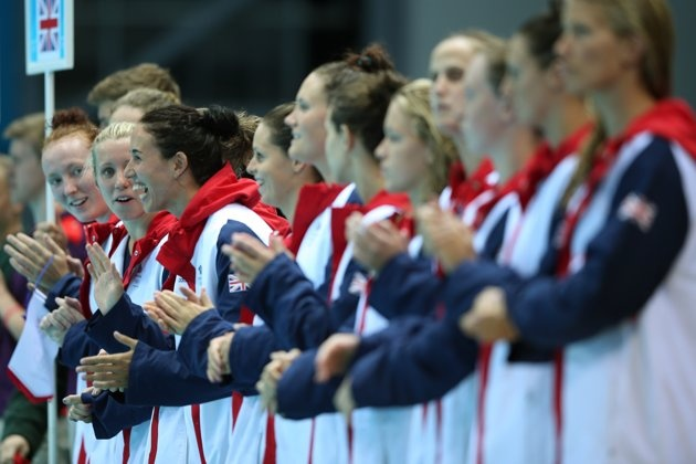 AUGUST 01: Great Britain players look on ahead of the Women's Preliminary Round Water Polo match between Great Britain and Australia on Day 5 of the London 2012 Olympics at Water Polo Arena on August 1, 2012 in London, England. (Photo by Jeff J Mitchell/Getty Images)