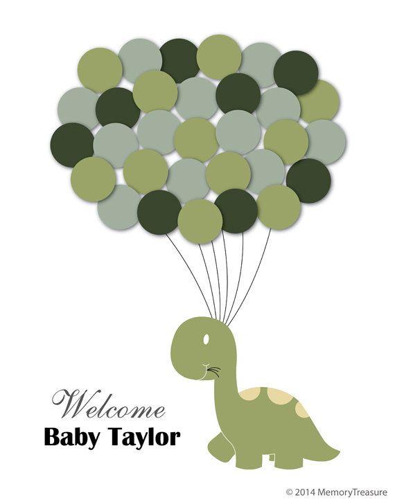 Exceptional Baby Shower Guest Book Alternative Dinosaur Children Kid Birthday Balloons  Poster Print Guest Sign Personalized Unique Creative Fun Original
