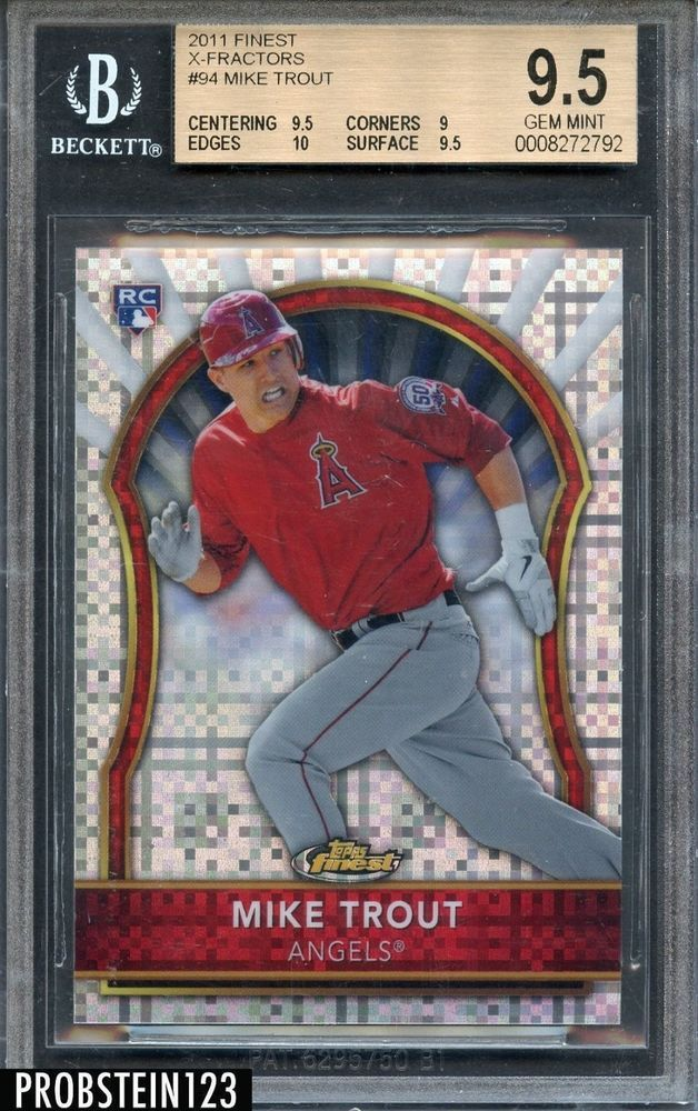 2011 Topps Finest Xfractor 94 Mike Trout Rc Rookie Angels 217299