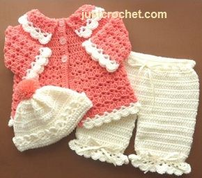 Free three piece baby crochet pattern http://www.justcrochet.com/free-set04.html #freebabycrochetpatterns #patternsforcrochet