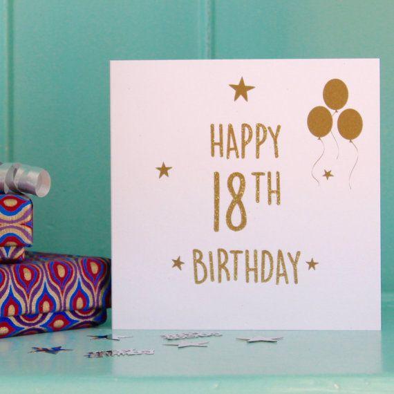 18th Birthday Card , 18th Birthday , Eighteenth Birthday , Gold Glitter , Sparkly Card , Balloons Card , Stars Card , Birthday Gift.