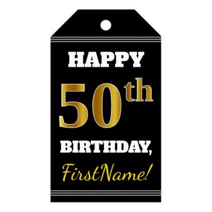 Black Faux Gold 50th Birthday Custom Name Gift Tags