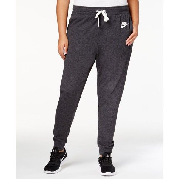 Nike Plus Size Jogger Sweatpants ($60) ❤ liked on Polyvore featuring plus size women's fashion, plus size clothing, plus size activewear, plus size activewear pants, white sweat pants, jogger sweat pants, white sweatpants, high waisted sweatpants and sweat pants