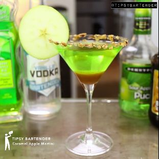 Caramel Apple Martini - For more delicious recipes and drinks, visit us here: www.tipsybartender.com