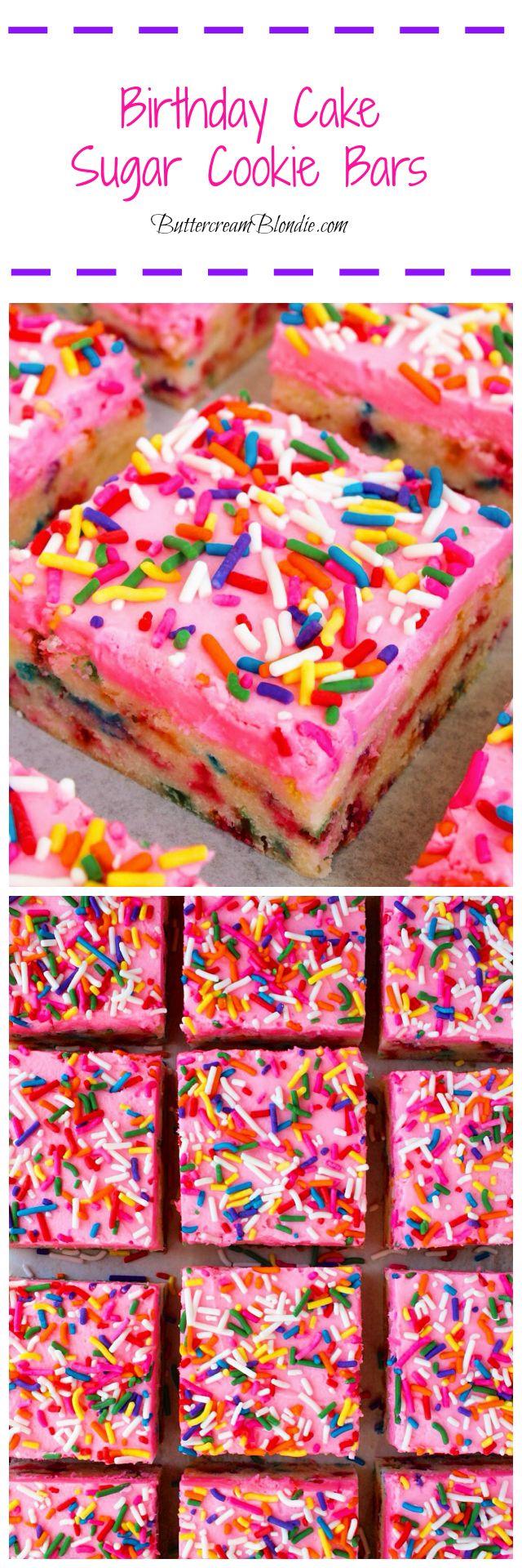 Birthday Cake Sugar Cookie Bars – Superleichte Sugar Cookie Bars sind mit …   – Best Blogger Dessert RECIPES