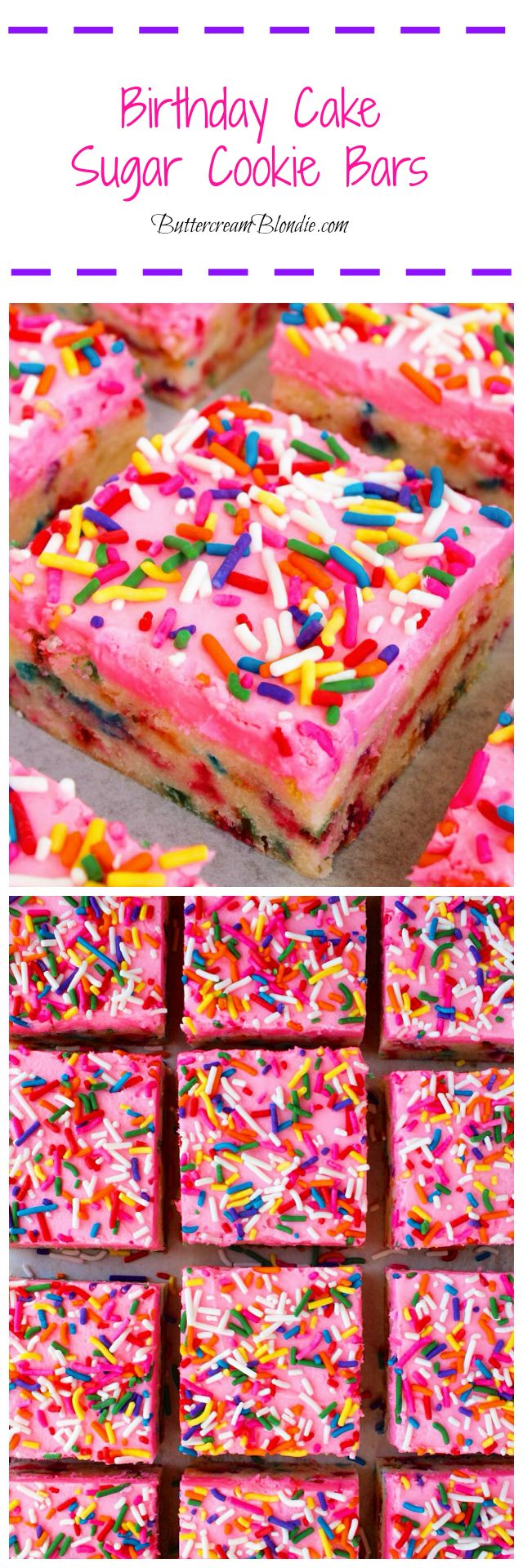 Birthday Cake Sugar Cookie Bars - Super easy sugar cookie bars are loaded with rainbow sprinkles and topped with vanilla buttercream! | ButtercreamBlondie.com