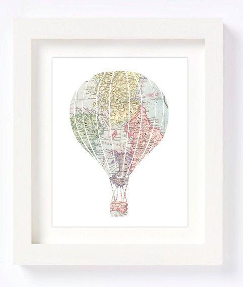 Hete luchtballon gemaakt van een vintage kaart maakt voor het perfecte kinderkamer inrichting item of uw kind of kids kamer of speelkamer. Voor een grote babydouche of nieuwe moeder cadeau zou maken.  Deze aanbieding is voor TWEE INSTANT DOWNLOAD afdrukbare hoge resolutie JPEG bestanden in 8 x 10 en 5 x 7 formaat van de afdruk gekenmerkt in de eerste foto **  Wenst u een ander formaat, bestel deze aanbieding en vervolgens e-mail me op cheekyalbidesigns [! bij] gmail.com van aanvragen van de…