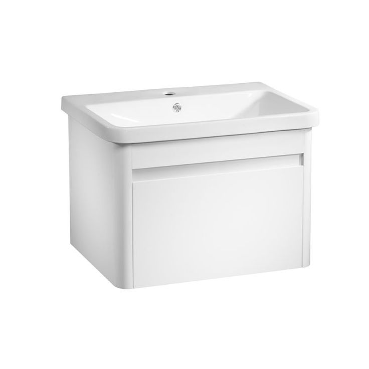 Refresh 700 Wall Mounted Unit - White The Refresh white 700mm wall mounted  bathroom unit is sleek and stylish with its ergonomic and handle-free design.The Refresh bathroom furntiure unit features deep soft-close drawers and offers plenty of storage space for your bathroom bits and bobs.Why not create a fully coordinated look for your bathroom and team this bathroom furniture vanity...