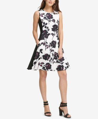 Printed Scuba Fit Amp Flare Dress Created For Macy S