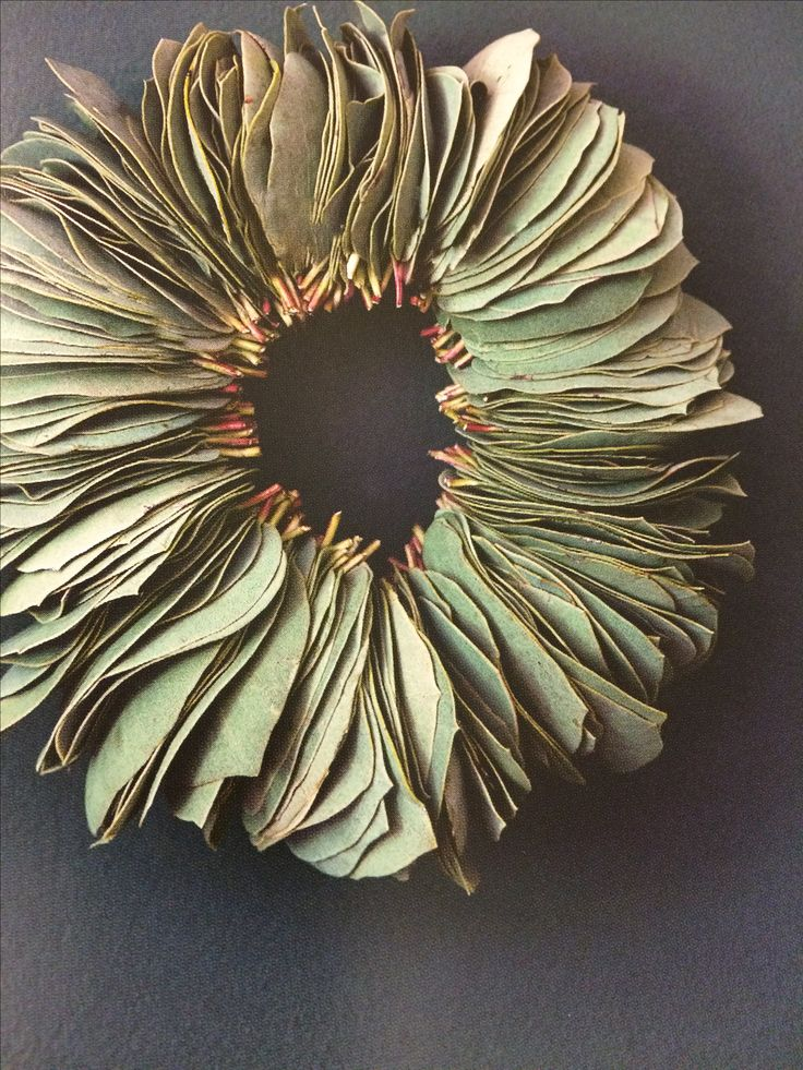 Wreath of manzanita or eucalyptus leaves, as seen in Plant Craft by Caitlin Atkinson.