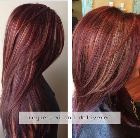 HOW-TO: Rich Red Hair Color with Golden Caramel Highlights... this color!!
