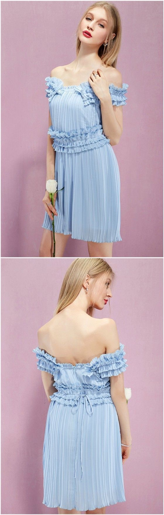 Baby Bule Off-the-shoulder Pleated Short Holidays Dress