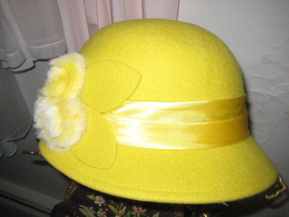 Mustard Yellow Wool Cloche/Mink Roses Trimmed Hat by refindliving
