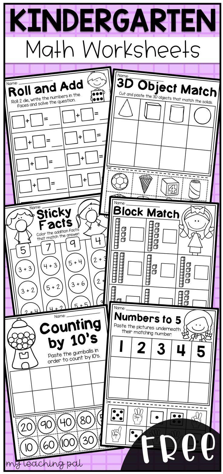 Free Kindergarten Math Worksheets This Worksheet Pack Features 6 Engaging Math Worksh Kindergarten Math Worksheets Free Kindergarten Math Free Homeschool Math [ 1561 x 736 Pixel ]