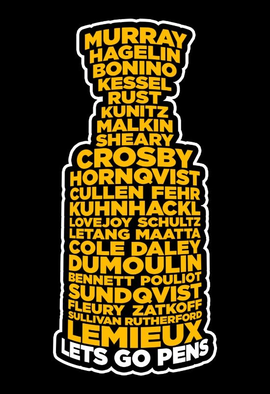 The 2016 Stanley Cup Pittsburgh Penguin roster of champs ♥ Chris Kunitz! A fellow Bulldog!
