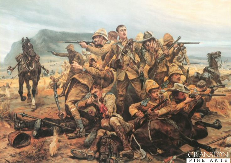 All That Was Left of Them by Richard Caton Woodville    Illustrates the scene at Modderfontein Farm where a squadron of the 17th lancers were pinned down by a large Boer force, and fought to the finish.