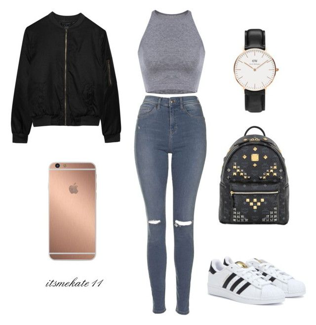 """""""outfit n.3"""" by itsmekate11 on Polyvore featuring Topshop, adidas, MCM, Daniel Wellington, Alygne and Mura"""